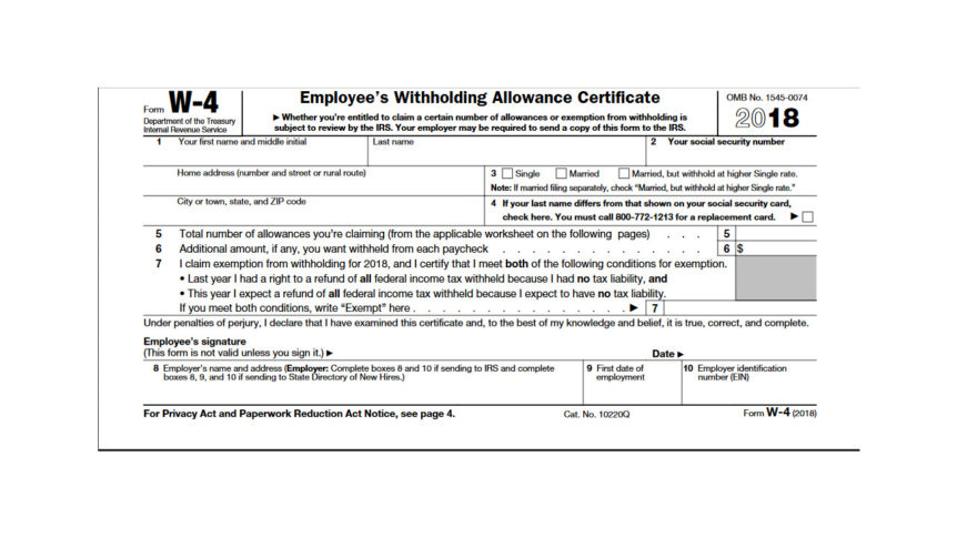 Form W-4 Changes